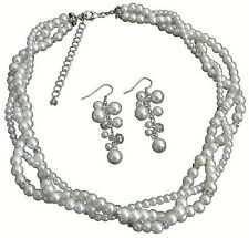 Impressive Bridal Jewelry In Rich White Pearl Rhinestones Sparkle Twisted Set