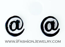 Small Black at @ Sign Symbol Internet Email Address Stud Earring Fashion Jewelry
