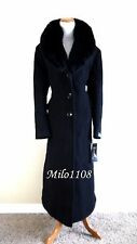 NWT $700 Sachi Black Fox Fur Collar Maxi Full Length Wool Coat 14W 1X 18 20 XXL