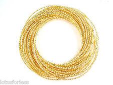 40 x Sottile GLITTERATE GOLD TONE BRACCIALE BRACCIALETTO INTER collegato Stile Russo