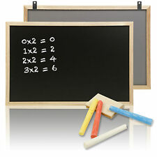 45 x 30cm Black Board + Chalks Wooden Frame Wiper Notice Memo Kitchen School New