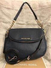 NWT MICHAEL KORS LEATHER BEDFORD MEDIUM TASSEL CONVERTIBLE SHOULDER BAG - NAVY