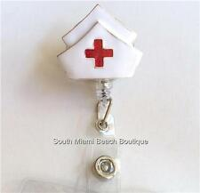 Nursing Gift ID Tag Lanyard Silver NURSE Cap Red Cross Retractable Reel Holder