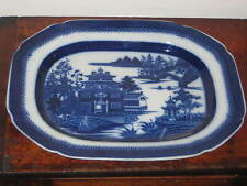 EARLY 19TH CENTURY ENGLISH  BLUE & WHITE PEARLWARE PLATTER ORIENTAL SCENE