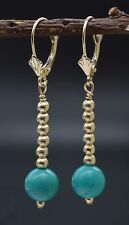 #BE205 14K Solid Gold Natural Turquoise & Gold Beads LeverBack Earrings