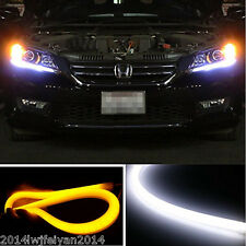 2x 60CM Flexble Tube Dual Color Switchback LED Strip DRL Daytime Running Lights