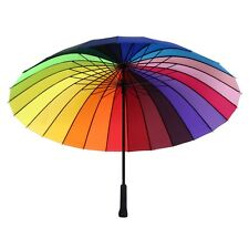 Rainbow Umbrella Ultra Durable Deluxe Strong Windproof Large Canopy 24 Rib