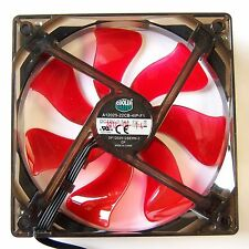 Cooler Master 120mm PWM PC Case Fan 4 Pin Cooling Red LED Silent Wave Shape F17