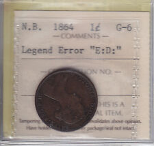 1864 New Brunswick One Cent ERROR ICCS Graded G-6 Rare Error Coin