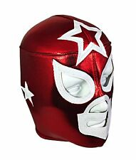 WHITE STAR (pro-fit) Lucha Libre Mexican Luchador Costume Mask - RED