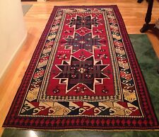 "c1913 Turkish Armenian Star Kazak Rug 136"" x 57"" Kilim Soumak Flat Weave Wool"