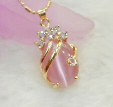 Pink Opal 18KGP Crystal Pendant and Necklace