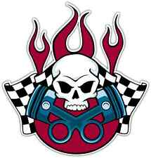 "Racing Skull Car Bumper Window Tool Box Sticker Decal 4""X5"""