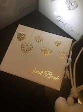 Personalized Luxurious Gold Hearts Wedding Guest Book And Gold pen