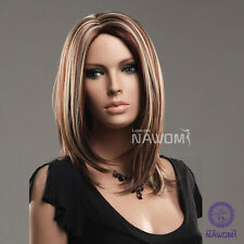 New Wig Charming Womens&girls Straight Mid-length Highlights Periwig