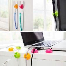 6 X Cable Drop Tidy Holder Clip Lead Organiser Wire Cord USB TV PC Green/P/Orang