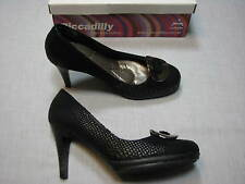8.5 M Piccadilly Black Faux Snakeskin Ladies Shoes Womens Stiletoes High Heels