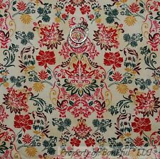 BonEful Fabric FQ Cotton Quilt VTG Cream Flower Red Green Toile Damask Country S