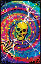 CYBER JUNKIE - SKULL BLACKLIGHT POSTER - 24X36 FLOCKED PSYCHEDELIC GOTHIC 1947