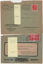 Germany Perfin Lot of 4 on Covers Different Design Faces