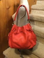 Cole Haan Red Pebbled Leather Drawstring Bucket Handbag Large Purse