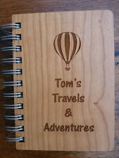 Personalised Travel Journal / Notebook : Wooden engraved A6 Travel Journal