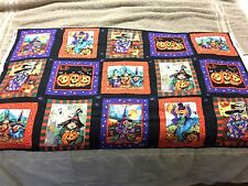 E. Schenck Trick or Treat Witches Jack O Lanterns 15 Scary Squares Fabric Panel
