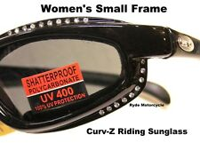 Curve Z Women Padded Foam Motorcycle Biker Smoke Riding Lady Rhinestone Sunglass