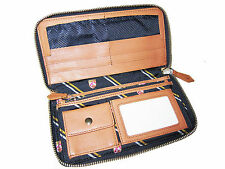 Rugby Ralph Lauren Navy Blue Polo Shields Brown Leather Organizer Clutch Wallet