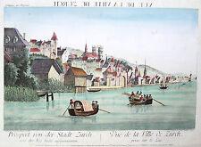 Original altkol. Guckkastenblatt Kupferstich Zürich Zürichsee Schweiz; 1780