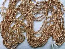 Vtg 1 HANK BRIGHT GOLD GLASS CHARLOTTE TINY BEADS 13/0 CZECH #070112a