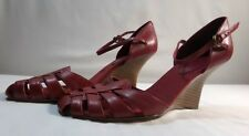 Women's Red Leather Wedge Sandals Heels Shoes by Nine & Co. Size 7