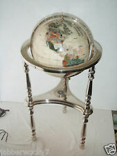 "Beautiful 37"" Mother of Pearl Gemstone GLOBE Floor Stand, Semi-Precious Stones"