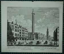 c1750 ANTIQUE LONDON PRINT ~ MONUMENT OF LONDON REMEMBRANCE FIRE 1666