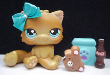 LITTLEST PET SHOP #238 HTF RARE BROWN CARAMEL PERSIAN KITTY CAT BOW ACCESSORIES