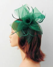 Large Emerald Green Mesh Flower Bow & Shaped Feather Hair Fascinator on Comb