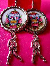 Day Of The Dead Sugar Skull With Walking Dead Zombie Dangle Charm Earrings #35
