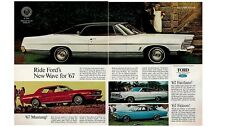 1967 Ford New Wave for '67 2-page Print Ad ~ Mustang Fairlane Falcon