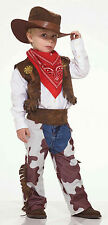 Cowboy Kid Child Costume Boys Cowboy Chaps Vest Hat Bandana Size Sm 4-6