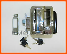 CHROME RV Paddle Entry Door Lock Latch Handle Knob Deadbolt NEW Camper Trailer