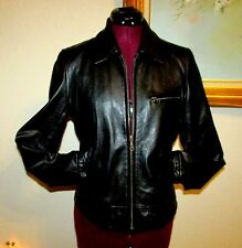 WILSON'S BLACK ZIP FRONT SOFT LEATHER JACKET/SIDE BUCKLES/SEWN BACK BAND SIZE S