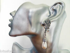 Beautiful Bridal Earrings Vintage Look Teardrop Pearl Crystal Dangle Drop Silver