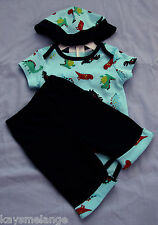 Baby Boy's 3 Pce Set w Dinosaur Onesie Pants and Hat - Size 000 NWT