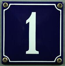 """Blaue Emaille Hausnummer """"1"""" 12x12 cm Hausnummernschild sofort lieferbar Schild"""