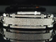 Diamond ID Bracelet Leather Strand Stainless Steel Plate Arctica Brand 1.40 CT