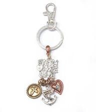 KEYCHAIN Faith Hope Love Anchor  3 Tone Religious Theme Charm Key Chain