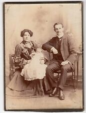 1800'S CABINET CARD PHOTO PROUD VICTORIAN MOM & DAD WITH THEIR NEW BABY
