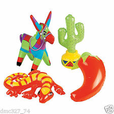 4 FIESTA Cinco De Mayo Party Decorations INFLATABLE Donkey Cactus Lizard Pepper