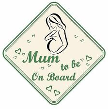 MUM TO BE ON BOARD CAR SIGN NON PERSONALISED GREEN BABY GIRL/BOY  MATERNITY