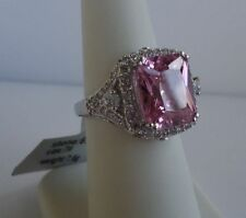 LADIES DESIGNER RING / 925 STERLING SILVER W/ 12cts PINK /WHITE DIAMOND/SZ 5 - 9